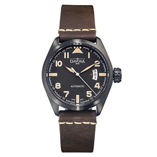 Davosa 16151184 Herren-Armbanduhr, analog, echtes Leder, Schwarz