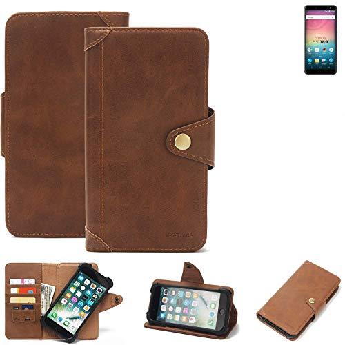 K-S-Trade® Handy Hülle Für Allview V3 Viper Schutzhülle Walletcase Bookstyle Tasche Handyhülle Schutz Case Handytasche Wallet Flipcase Cover PU Braun (1x)