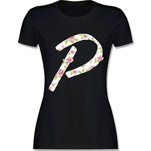 Anfangsbuchstaben - P Rosen - tailliertes Premium T-Shirt mit Rundhalsausschnitt für Damen Schwarz