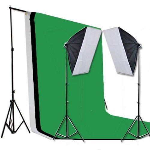 PMS® Studio Hintergrund Set mit Greenscreen und Softboxes