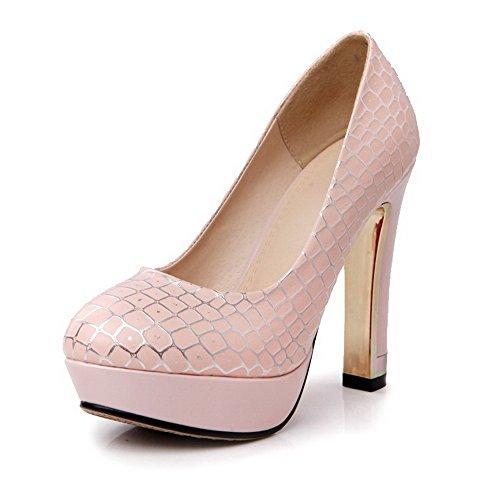 AgooLar Damen Ziehen Auf Hoher Absatz Pu Leder Gemischte Farbe Rund Zehe Pumps Schuhe Pink