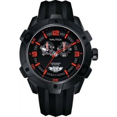 Nautica Men's Steel Case Quartz Black Dial Chronograph Watch A43005G