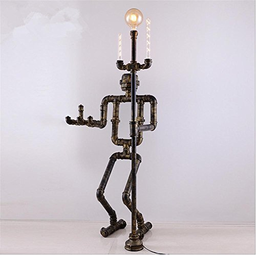 Atmko®Lampada da Terra Lampada a Stelo Piantana Lampada da terra torchiere stile industriale luce antico Vines metallo piano pipe