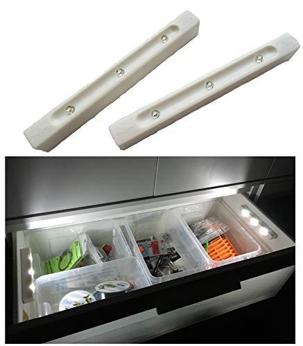 SmartLichtPro 2er Pack LED Schubladenlicht Selbstklebend mit Vibrations-Sensor - Licht ab - beim Öffnen von Schubladen Kästen & Schränken inkl. 2X Zusatz-Klebe Pads