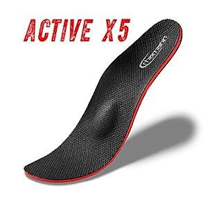 Active X5 die neueste Generation Orthopädische Schuheinlagen-Einlegesohlen gegen Knickfuß, Senkfuß, Plattfuß, Spreizfuß, metatarsalgie, Fußschmerzen und Fußfehlstellung. Verhindert Schweißfuß.