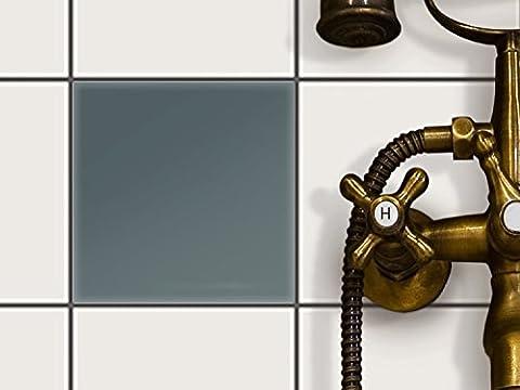 Bad Küche Fliesensticker Aufkleber Folie | Fliesen-Deko Küchenfliesen Fliesenmuster Badezimmer-Deko | 15x15 cm Farbe Blaugrau 2 - 1 Stück