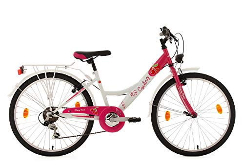 KS Cycling Kinder Kinderfahrrad Cherry Heart, Weiß/Pink, 24, 621K