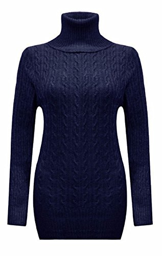 Ladies Chunky Cable Knit col roulé Mini Jumper Dress EUR Taille 36-42 Marine