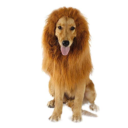Tie langxian Dog Costume Lion Mane Wig for Pet Dog Funny Halloween Dress up Cosplay Christmas Festival Party Gift, Suitable for Medium and Large Dogs (Earless) (König Der Löwen Kostüm Für Hunde)