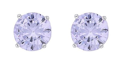 Adara 6 mm Round Cubic Zirconia Sterling Silver Stud Earrings