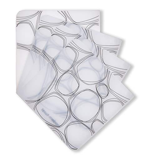 Modernen Twist (modern-twist Weiss & Co. - Glasuntersetzer aus Silikon 4-TLG. Set Serie Pebbles Schwarz auf weißem Hintergrund- abwaschbar - Rutschfest)