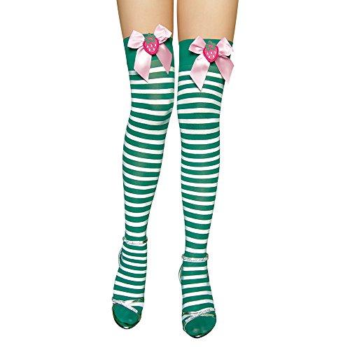 AmyGline Mode sexy Strümpfe Bogenstrümpfe grün gestreifte Strümpfe Damen Karneval Kostüm Fasching