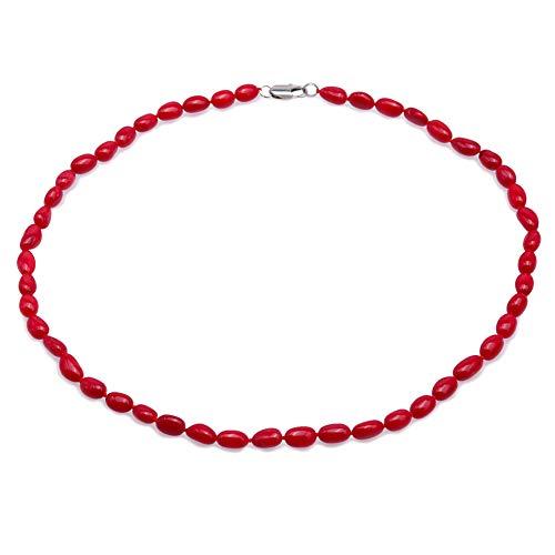 JYX korallenkette Edelstein Korallen-Halskette, schöne 6,5 x 10,5 mm, runde rote Korallen-Halskette für Damen, 50,8 cm