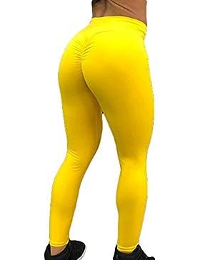 Mujer Leggings Push Up Mallas Pantalones de Yoga Mujeres Pantalones de Chándal Color Sólido Cintura Alta Pantalones...
