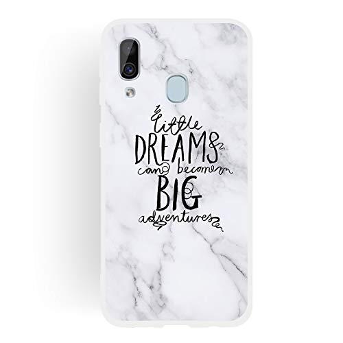 CUagain Kompatibel mit Samsung Galaxy A40 2019 Hülle Silikon Marmor Lustig Phrase Muster Galaxy A40 Hüllen Handyhülle Ultra Dünn Gummi Cover Bumper Kratzfest TPU Case Mädchen Damen,Dream -