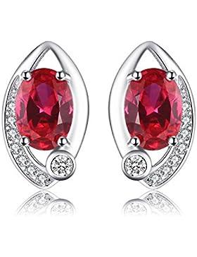 Jewelrypalace 1.8ct Luxus klassische Engel Augen Taube Blut Rot Synthetisch Rubin Ohrring Ohrstecker 925 Sterling...