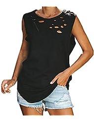 Camisetas Sin Mangas con Agujero SóLido para Mujer - Camisetas Sin Mangas para Mujer Sin Mangas con Cuello Redondo Camisetas Sueltas de Verano Blusas