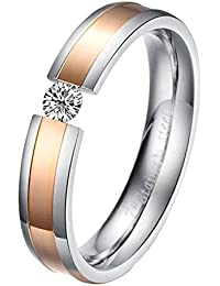UM Jewellery 316L Stainless Steel Crystal Mens Womens Couples Love Ring Wedding Two Tone Band