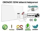 CRONOS - Panel de calefacción por Infrarrojos con termostato y protección contra sobrecalentamiento, 720 W, Fabricante alemán Certificado para Seguridad comprobada.