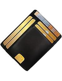 FreeHaveFun Leder Minimalist RFID Schutz Kreditkartenetui | Slim Wallet | Mini Geldbörse | kleines Portemonnaie | schmaler Geldbeutel | Herren Damen Kartenetui | dünner Kartenhalter | NFC Brieftasche