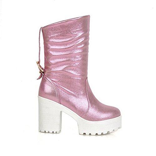 AgooLar Damen Niedrig-Spitze Ziehen auf Blend-Materialien Hoher Absatz Rund Zehe Stiefel, Pink, 40