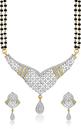 YouBella Women's Pride American Diamond Gold Plated Mangalsutra Pendant with Chain and Earrings for Women