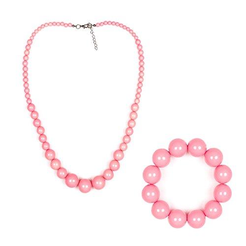 Kostümplanet® 50er Jahre Halskette und Armband Rock n Roll Schmuckset Damen rosa