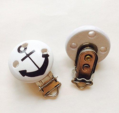 Preisvergleich Produktbild Schnullerclip für Schnullerkette zum Selbermachen in verschiedenen Designs, Clip für Schnullerkette (Anker)