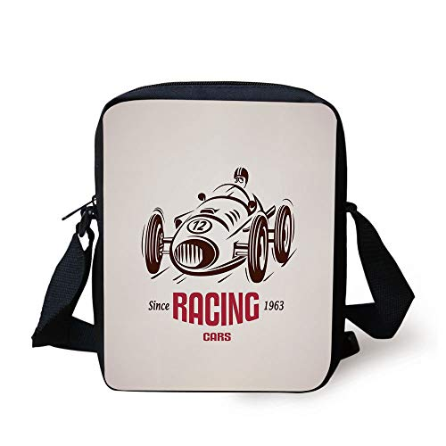 LULABE Cars,Retro Style Race Car Emblem Formula Automobile Icon Speed Competition,Chesnut Brown Pink White Print Kids Crossbody Messenger Bag Purse (Automobil-laptop-stand)