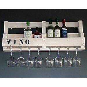 Weinregal aus Holz für die Wand – mit Gläserhalter und VINO Schriftzug – Weiß – fertig montiert – Regal für Weinflaschen…