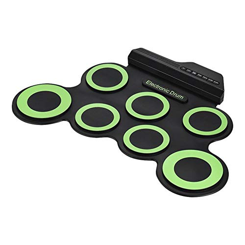 NUYI Hand Roll USB Electronic Drum Portable Drum Practice Drum Plegable Hand Roll Electronic Drum Jazz Drum,Green