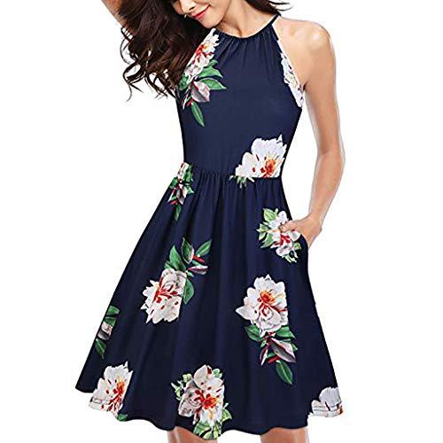 LILIHOT Frauen drucken ärmelloses O-Neck Casual Zipper Minikleid Sommerkleid Damen Blumen Kleid Ärmellos Kleider Lange Dress Party Club Strandkleid Elegan Sommerkleid -