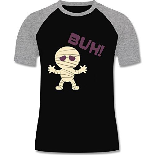 Halloween - Mumie Buh süß - zweifarbiges Baseballshirt für Männer Schwarz/Grau Meliert