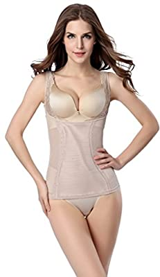 Bigood Women Open Bust Waist Cincher Shapewear Bustier Body Shaper Apricot XL