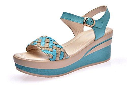 cuir première couche de sandales en cuir et pantoufles sandales de femmes Black