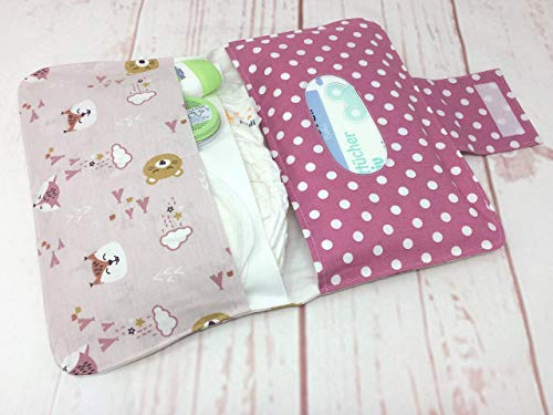LITTLE BABY BEAR rosa Zauberhafte Windeltasche mit vielen Fächern mit Wunschnamen -