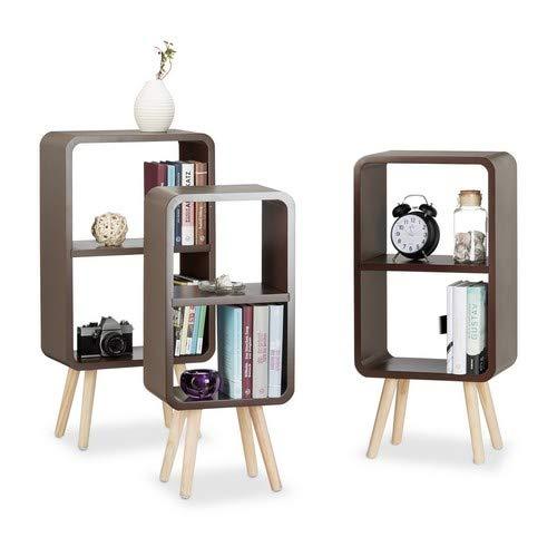 Relaxdays Standregal 3er Set, Wohnzimmerregale zur Aufbewahrung mit je 2 Fächern, MDF Holzregal in 3 Größen, braun -