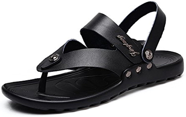 Ruiyue Thong Flip Flops Schuhe  Casual Echtem Leder Open Toe Strand Hausschuhe mit Verstellbaren Backless RutschfesteRuiyue Open Toe Hausschuhe Verstellbaren Rutschfeste