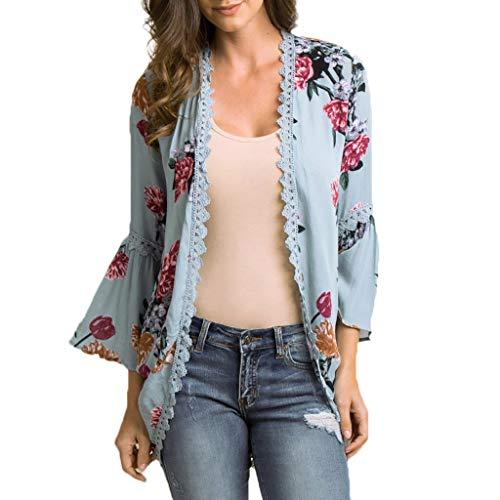 Ausverkauf LEEDY Damen Chiffon Florale Kimono Cardigan Boho Sommerkleid Beach Cover up Leichte Tuch für die Sommermonate am Strand oder See - Floral Damen Trench Coat