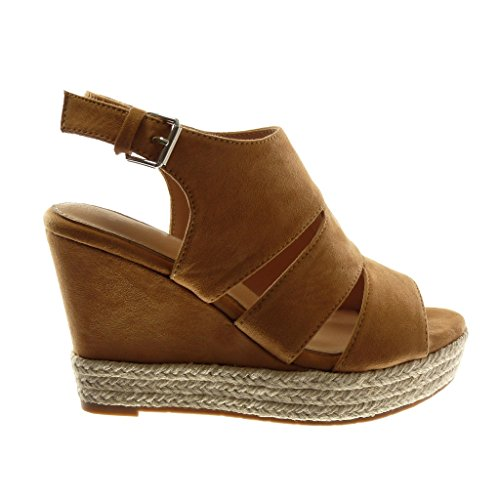 Angkorly Chaussure Mode Sandale Mule Plateforme Peep-Toe Ouverte Arrière Femme Corde Tréssé Talon Compensé Plateforme 10.5 cm Camel
