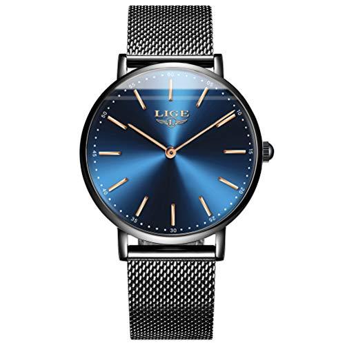 LIGE Damen Herren Armbanduhr Quartz Blau-Gold mit Milanaise-Mesharmband Mode Edelstahl Schwarz Wasserdicht Ultra-flach Slim-Uhr