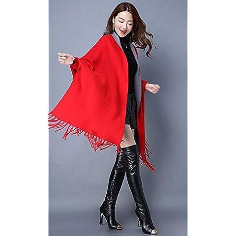 scialle frangiato maglia donne cappotto maglione delle donne di autunno inverno , big red