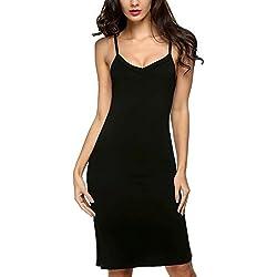 Robe pour femme Avidlove - Longueur genoux - Classique et sexy avec bretelles - Noir - XL