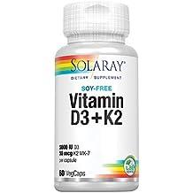 Vitamina D-3 y Vitamina K-2 con Calcio y Fósforo de Solaray |