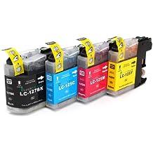 4x Compatible XL tinta cartuchos reemplazo for BROTHER LC-125 BK/C/M/Y   1x LC-125 C/M/Y + 1x LC-127 BK   con BROTHER MFC-J4110 DW MFC-J4410 DW MFC-J4510 DW MFC-J4610 DW MFC-J4610 DW