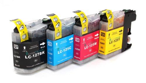 Preisvergleich Produktbild Multipack - 4 Druckerpatronen (LC-125 C/M/Y + LC-127 BK) kompatibel zu BROTHER mit CHIP für Brother MFC-J4110 DW MFC-J4410 DW MFC-J4510 DW MFC-J4610 DW MFC-J4710 DW