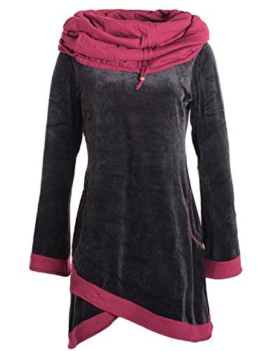 Vishes - Alternative Bekleidung - Lagenlook Samtkleid mit ausgestellten Ärmeln und Kapuzenschalkragen schwarz-dunkerot 40 (Mit Velours-tunika Kapuze)