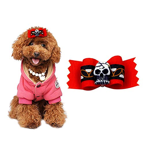 CampHiking Halloween Pet Head Dekoration Kostüm Zubehör Blume mit Head Skelett mit Gummi Band für Hund Katze (10PCS Pro Set)