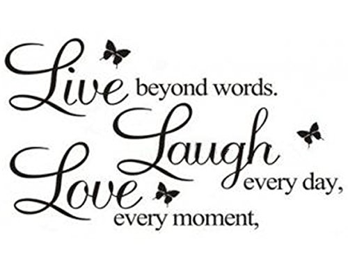 "Vinilo adhesivo ""Live, Laugh and Love"" decorativo para pared Letras y mariposas - letras decorar amor"
