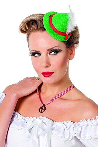Jannes 9310 Oktoberfest-Mini-Hut für Damen mit Feder Tiroler Bayern-Hut Einheitsgröße Rot